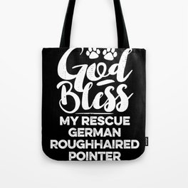 God Bless My Rescue German Roughhaired Pointer Paw Print for Dog Walker Gift Tote Bag