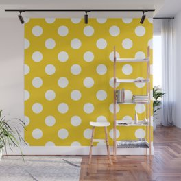 Jonquil - yellow - White Polka Dots - Pois Pattern Wall Mural