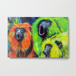 Urban Street Art: Screaming Fluorescent Monkeys Metal Print