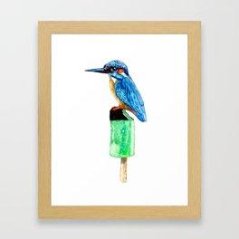 Bird on ice Framed Art Print