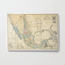 Vintage Map of Mexico (1847) Metal Print