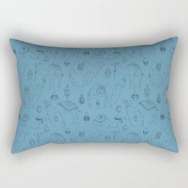 Linocut Camels No. 3 in Blue Rectangular Pillow