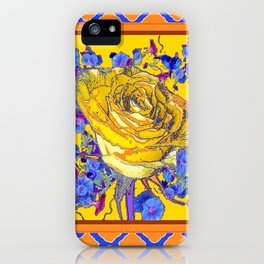 CORAL & BLUE LATTICE & YELLOW ROSE BLUE MORNING GLORY FLOWERS iPhone Case