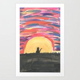 Cat's sunset Art Print