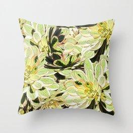 Yellow Desert Echeveria Pattern Throw Pillow