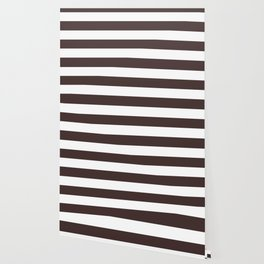 Old burgundy - solid color - white stripes pattern Wallpaper