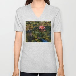 Water Lily Nestled in Magical Reflections Unisex V-Neck