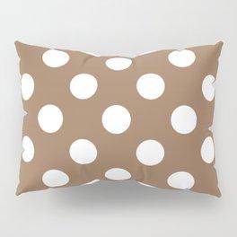 Liver chestnut - brown - White Polka Dots - Pois Pattern Pillow Sham