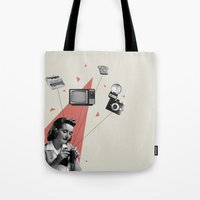 knitting Tote Bags featuring Knitting by Andrea Eedes