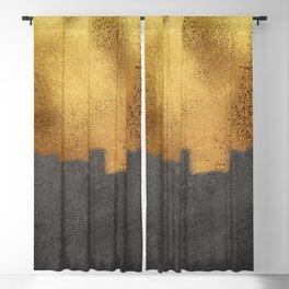 Elegant Gold and Black Grunge Texture Blackout Curtain