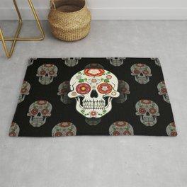 Lancashire Rose Sugar Skull (Black pattern) Rug