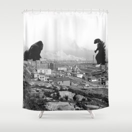 Old time Godzilla vs King Kong Reprised Shower Curtain