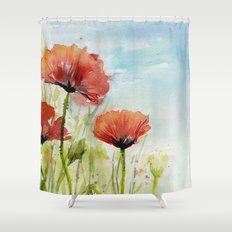Red Flowers Watercolor Landscape Poppies Poppy Field Shower Curtain