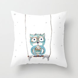Owl Fun #2 #blue #gold #drawing #decor #art #society6 Throw Pillow