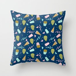 Alien outer space cute aliens french fries rad sodas pattern print Throw Pillow