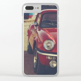 Triumph spitfire, english car by the beach in italy, old car and a boat, for man cave decor Clear iPhone Case