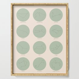 Zodiac Constellations - Sage Green Serving Tray