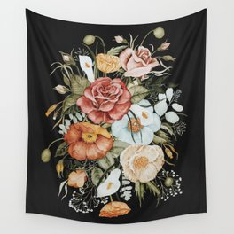Roses and Poppies Bouquet on Charcoal Black Wall Tapestry