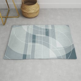 Abstract Semi Circle Design in Teal Rug
