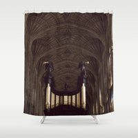 college Shower Curtains featuring King's College Cambridge by David Hohmann