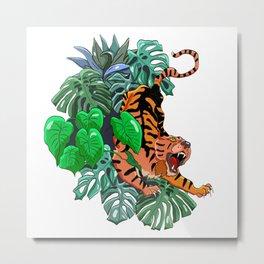 Stylish colorful poster with tropical wild animal. Amazing big asian tiger. Metal Print