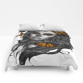 Sugar Skull Tattoo Girl with Butterflies Comforters