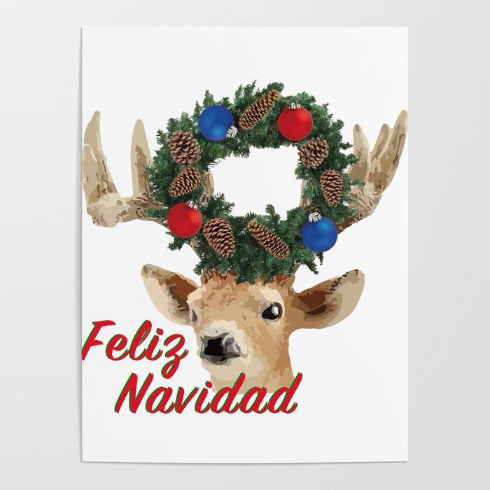 Merry Christmas In Spanish.Feliz Navidad Spanish Merry Christmas Poster By Carmenjc