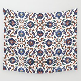 Iznik Pattern Red Blue White Wall Tapestry