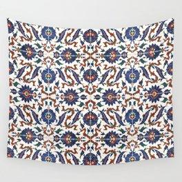Iznik Pattern Red Blue White Wall Tapestry