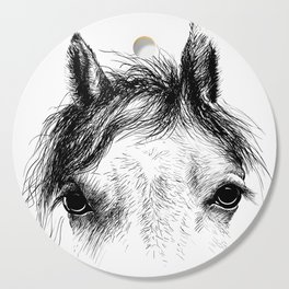 Horse animal head eyes ink drawing illustration. Mammal face portrait Cutting Board