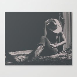 Cowgirl Sits in Country Shadows Canvas Print