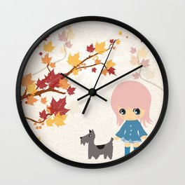 Fall-ow your Dog Wall Clock