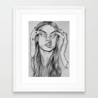 cara Framed Art Prints featuring Cara by David Pérez