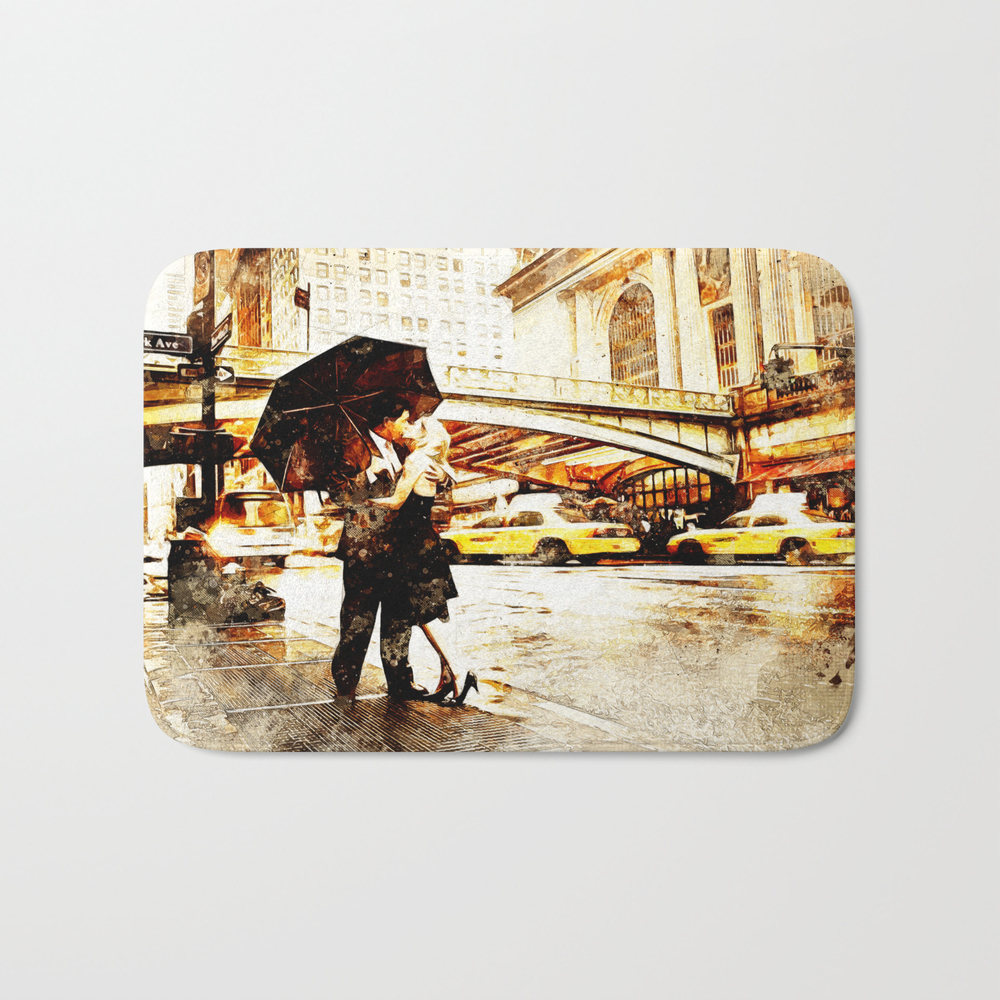 Love In The Rain (loving The Rain) Bath Mat by D77thedigartist BMT8597572