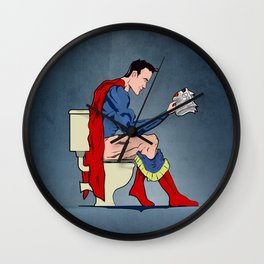 Superhero On Toilet, Restroom, bathroom art Wall Clock