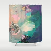 mineral Shower Curtains featuring Mineral Meteor by Sara Cannon Art