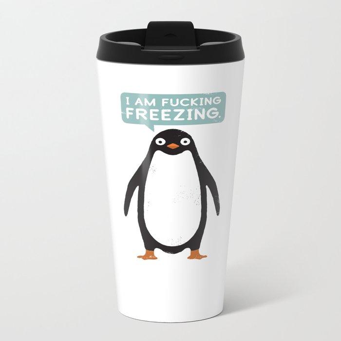 Talking Penguin Metal Travel Mug