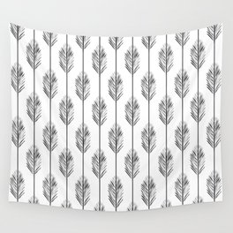 Black and White Redwood Leaf Wall Tapestry