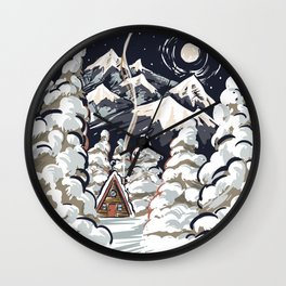 Winter cabin Wall Clock