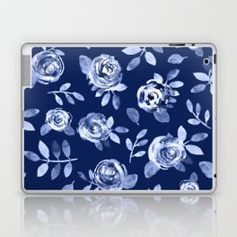 Hand painted navy blue white watercolor floral roses pattern Laptop & iPad Skin