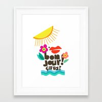 bonjour Framed Art Prints featuring Bonjour! by Daily Thoughts