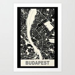 Budapest, Hungary, city map, Black Art Print
