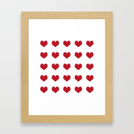 Hearts pattern red and white minimal modern essential valentines day gifts for anyone love Framed Art Print