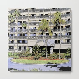 High-rise condo with palms and landscaping Metal Print