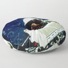 Astronaut Edwin E Aldrin Jr pilot for the Gemini-12 spaceflight removes micrometeoroid package for r Floor Pillow