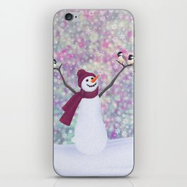 snowman and chickadees iPhone Skin