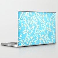 shabby chic Laptop & iPad Skins featuring Shabby Chic Aqua Damask by Miriam Hahn
