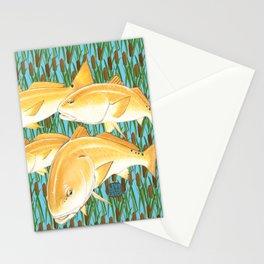 Live for the Catch- Red Fish Stationery Cards