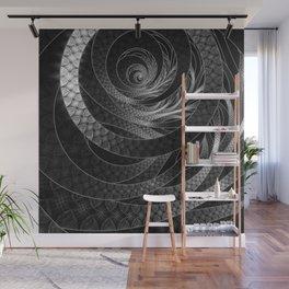 Shining Silver Corded Fractal Bangles Wall Mural