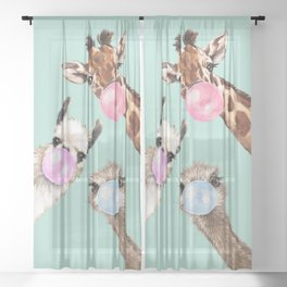 Bubble Gum Gang in Green Sheer Curtain